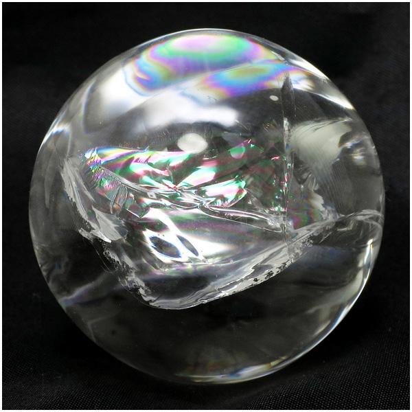 最高級 天然 虹入り水晶 丸玉 約46mm 天然石 パワーストーン 水晶 水晶玉 原石 置物 レインボークォーツ 天然水晶 プレゼント 人気