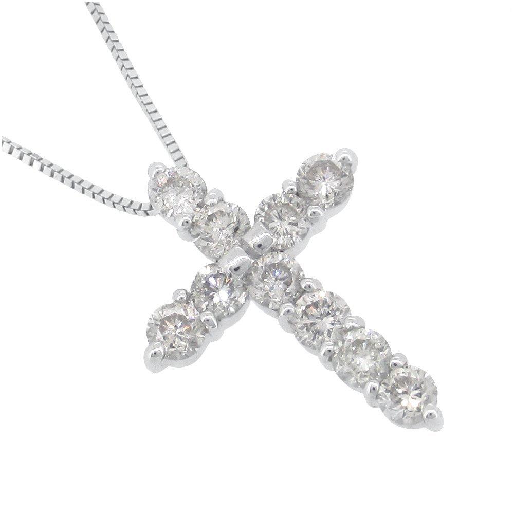 クロス K10 ダイヤモンド ネックレスギフトBOX付き ゴールド アクセサリー レディース ネックレス 女性用 ホワイト 十字架 レディースネックレス ネックレスレディース プレゼント 人気 かわいい おしゃれ