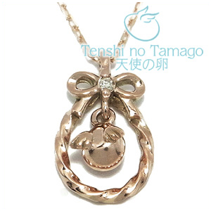 天使の卵 ダイヤモンド リボン K10ピンクゴールド ネックレス K10 ピンクゴールド 銀の蔵 レディース 女性用 ペンダントネックレス レディースネックレス ネックレスレディース プレゼント 人気 かわいい おしゃれ