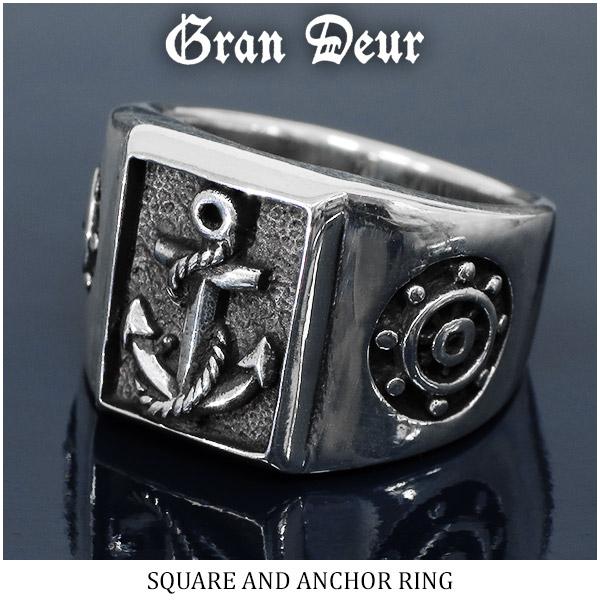 GRAN DEUR グランデュアー スクエア 錨 アンカー 舵 ブルーダイヤモンド ダイヤ シルバーリング 17~21号 指輪 リング シンプル メンズリング プレゼント 彼氏 人気 おしゃれ