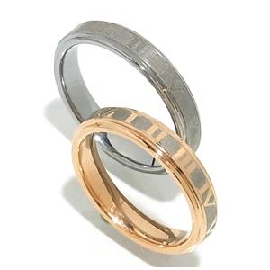 ローマ数字クロック タングステン ペアリング グレー ピンク 7~21号 指輪 リング Ring メンズ レディース 銀の蔵 お揃いペアリング カップル 人気ペアリング プレゼント おしゃれ