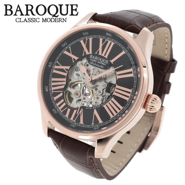 BAROQUE 腕時計 ブランド ウォッチ DEVINO BA1006RG-02BR ディヴィーノ 時計 メンズ 紳士 かっこいい 男性用 シースルー スケルトン バックスケルトン 自動巻き オートマチック メンズ腕時計 人気腕時計 ブランド時計 プレゼント 彼氏 おしゃれ