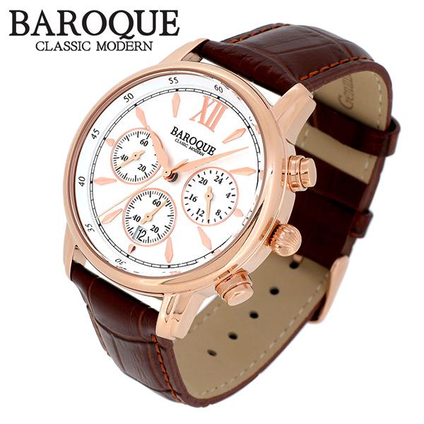 BAROQUE 腕時計 ブランド ウォッチ CLASSICO 38 BA1009RG-01BR クラシコ38 時計 メンズ 紳士 かっこいい クォーツ 本革ベルト クラシック ヴィンテージ 日本製ムーブメント 電池式 人気 プレゼント 彼氏 おしゃれ