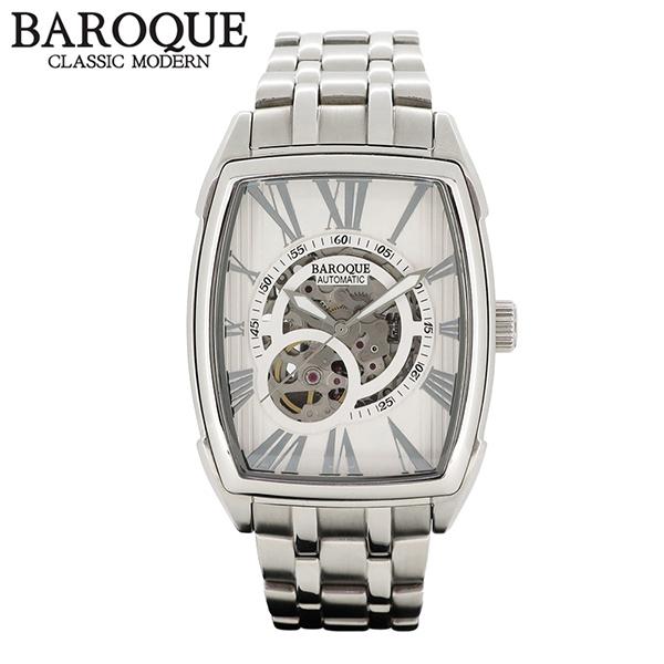 BAROQUE 腕時計 TREVI ホワイト 自動巻き スケルトン ウォッチ BA2001S-01M ブランド 時計 メンズ アクセサリー ファッション カジュアル メタルベルト メンズ腕時計 人気腕時計 ブランド時計 プレゼント おしゃれ