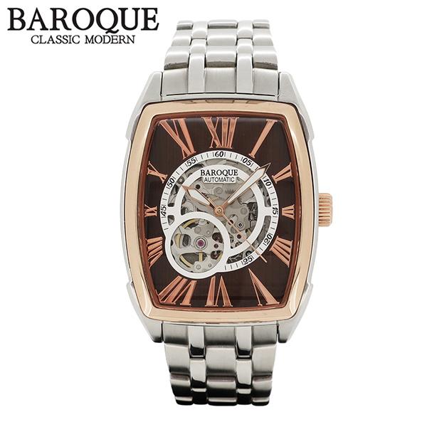 BAROQUE 腕時計 TREVI ブラウン 自動巻き スケルトン ウォッチ BA2001SRG-12M ブランド 時計 メンズ アクセサリー ファッション カジュアル メタルベルト メンズ腕時計 人気腕時計 ブランド時計 プレゼント おしゃれ