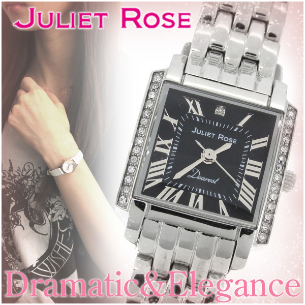 JULIET ROSE JUL202 シリーズ シルバー ブラック レディースウォッチ ダイヤ 日常生活防水 レディース 腕時計 時計 ダイヤモンド ダイアモンド アクセサリー ジュエリー ジュリエット ローズ JUL202S-02M ブランド プレゼント 人気 おしゃれ