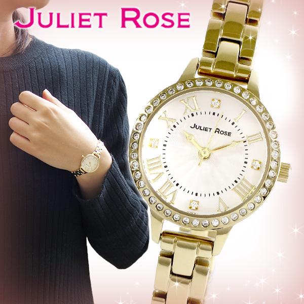 JULIET ROSE JUL-408シリーズ ゴールド レディースウォッチ 腕時計 スワロフスキー ステンレスバンド ブレスレット イエロー シンプル レディース 時計 ジュエリー ジュリエット ローズ JUL408G-01M かわいい ブランド プレゼント