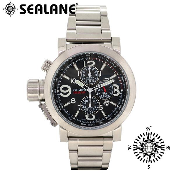 SEALANE シーレーン SE44 シリーズ ブラック メタルベルト ウォッチ クロノグラフ 日付 時計 メンズ 腕時計 SE44-MBK メンズ腕時計 人気腕時計 ブランド時計 プレゼント おしゃれ