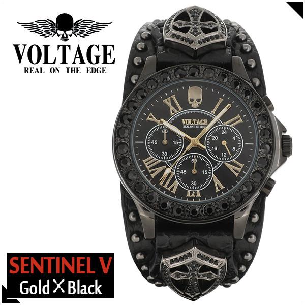 VOLTAGE センチネル5 ゴールド ブラック スカル クロノグラフ メンズ 腕時計 時計 アクセサリー パンク ロック ファッション ヴォルテージ ボルテージ メンズナックル センティネル Sentinel コンチョ ブランド プレゼント 人気 おしゃれ