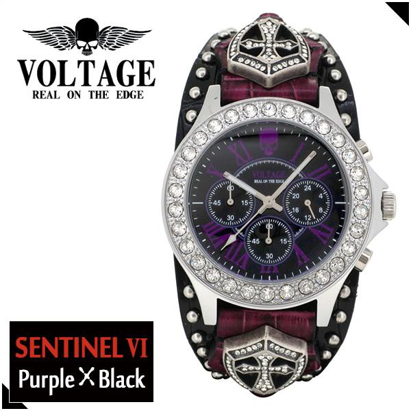 VOLTAGE センチネル6 パープル ブラック スカル クロノグラフ メンズ 腕時計 時計 アクセサリー パンク ロック ファッション ヴォルテージ ボルテージ メンズナックル センティネル Sentinel コンチョ ブランド プレゼント 人気 おしゃれ