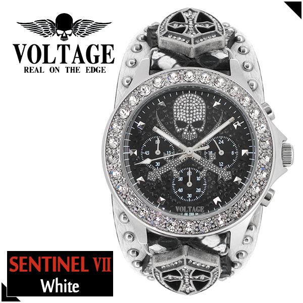 VOLTAGE センチネル7 ホワイト スカル クロスソード クロノグラフ メンズ 腕時計 時計 アクセサリー パンク ロック ファッション ヴォルテージ ボルテージ メンズナックル センティネル Sentinel ブランド プレゼント 人気 おしゃれ:新宿 銀の蔵