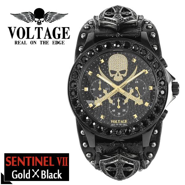 6b7371e655 VOLTAGE センチネル7 ブラック ゴールド スカル クロスソード メンズ 腕時計 時計 アクセサリー パンク ロック ファッション ヴォルテージ