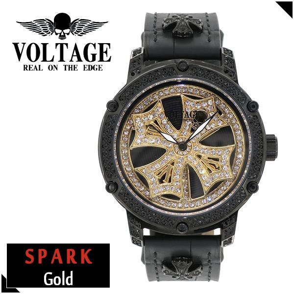 VOLTAGE スパーク ゴールド ダブルレイヤースピン ウォッチ メンズ 腕時計 アクセサリー ゴシック ロック アイアンクロスコンチョ スワロフスキー 牛革 ファッション ヴォルテージ ボルテージ メンズナックル SPARK ブランド プレゼント 人気