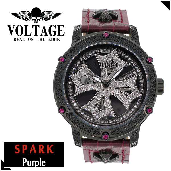 VOLTAGE スパーク パープル ダブルレイヤースピン ウォッチ メンズ 腕時計 アクセサリー ゴシック ロック アイアンクロスコンチョ スワロフスキー 牛革 ファッション ヴォルテージ ボルテージ メンズナックル SPARK ブランド プレゼント 人気