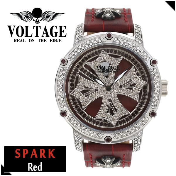 VOLTAGE スパーク レッド ダブルレイヤースピン ウォッチ メンズ 腕時計 アクセサリー ゴシック ロック アイアンクロスコンチョ スワロフスキー 牛革 ファッション ヴォルテージ ボルテージ メンズナックル SPARK ブランド プレゼント 人気