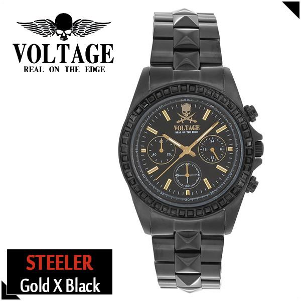 VOLTAGE スティーラー ゴールド ブラック ステンレスベルト ウォッチ メンズ 腕時計 アクセサリー ロック パンク メタル クロノグラフ ピラミッドスワロフスキー ファッション ヴォルテージ ボルテージ メンズナックル STEELER
