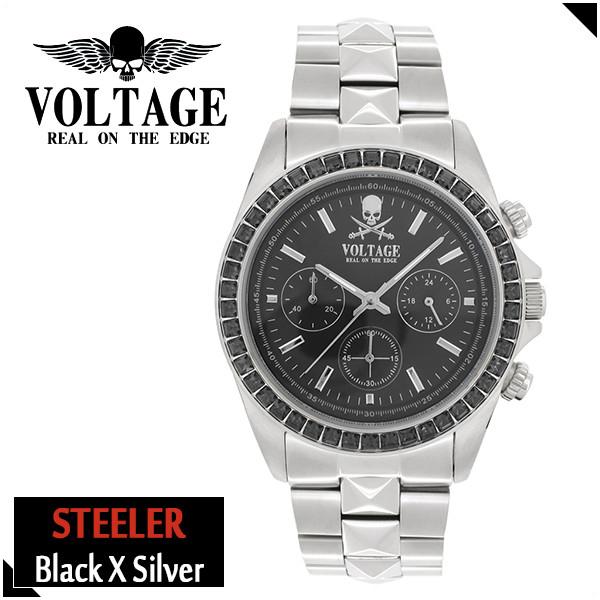 VOLTAGE スティーラー ブラック シルバー ステンレスベルト ウォッチ メンズ 腕時計 アクセサリー ロック パンク メタル クロノグラフ ピラミッドスワロフスキー ファッション ヴォルテージ ボルテージ メンズナックル STEELER
