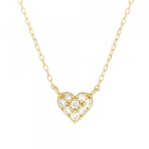 パヴェ ゴールドネックレス(チェーン付きペンダント) ハート 18金 イエローゴールド ダイヤモンド ダイアモンド ジュエリー ネックレス ペンダント 首飾り レディース 女性 アクセサリー ギフト プレゼント おしゃれ