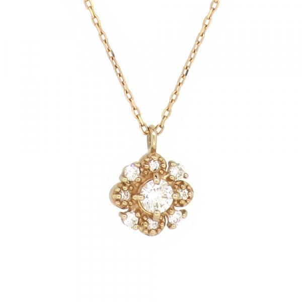 花 ゴールドネックレス(チェーン付きペンダント) 花びら フラワー パヴェ 18金 ピンクゴールド ダイヤモンド ダイアモンド ジュエリー ネックレス ペンダント 首飾り レディース 女性 アクセサリー ギフト プレゼント おしゃれ
