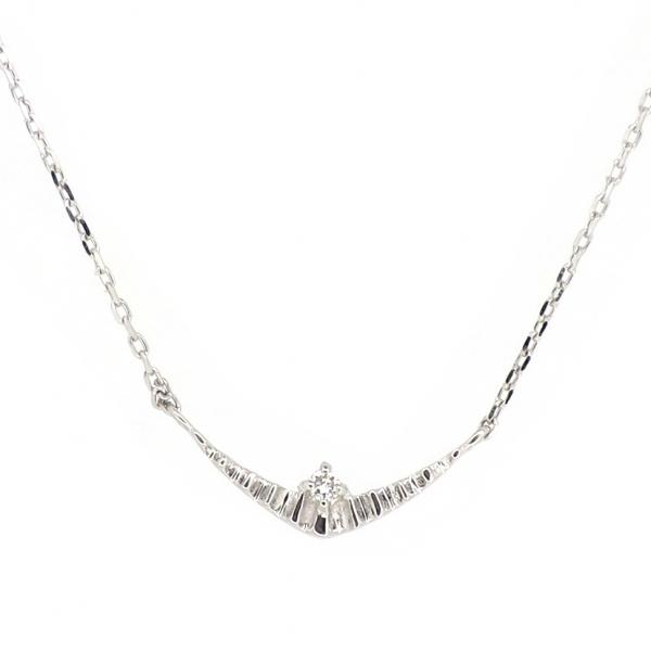 ライン ゴールドネックレス 曲線 曲線美 一粒 18金 ホワイトゴールド ダイヤモンド ダイアモンド ジュエリー ネックレス 首飾り レディース 女性 アクセサリー ギフト プレゼント おしゃれ
