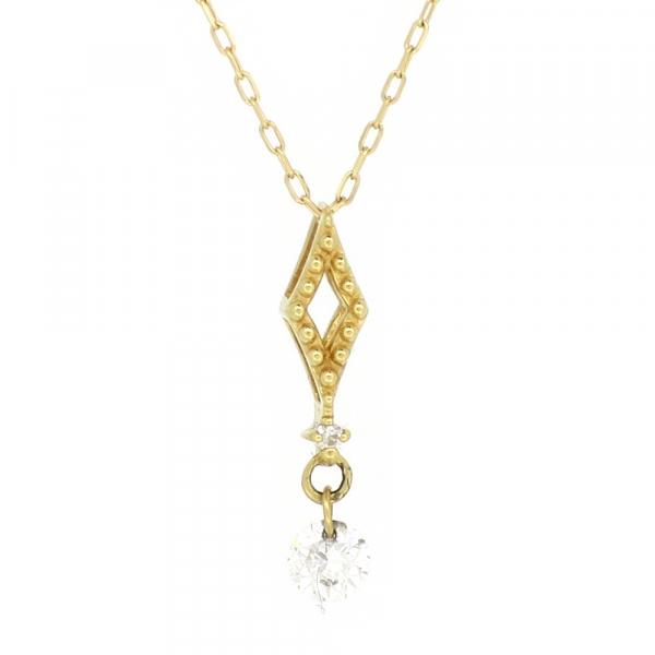 菱形 ゴールドネックレス(チェーン付きペンダント) ひしがた ダイヤ型 スウィング スイング 揺れる 18金 イエローゴールド ダイヤモンド ダイアモンド ジュエリー ネックレス ペンダント 首飾り レディース 女性 アクセサリー ギフト プレゼント おしゃれ