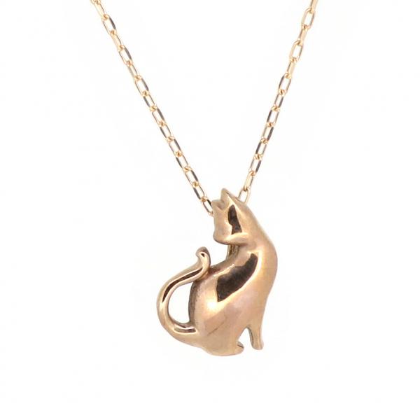 猫 ゴールドネックレス(チェーン付きペンダント) ねこ キャット 10金 ピンクゴールド ジュエリー ネックレス ペンダント 首飾り レディース 女性 アクセサリー ギフト プレゼント おしゃれ
