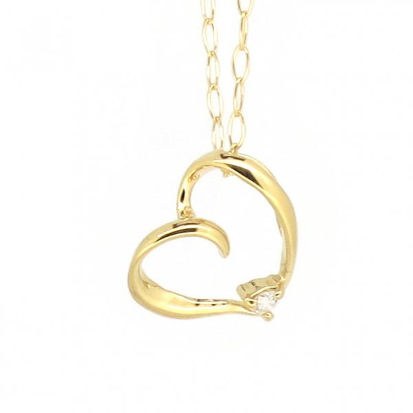 オープンハート ゴールドネックレス(チェーン付きペンダント) 透かし 粒 ストーン 18金 イエローゴールド ダイヤモンド ダイアモンド ジュエリー ネックレス ペンダント 首飾り レディース 女性 アクセサリー ギフト プレゼント おしゃれ