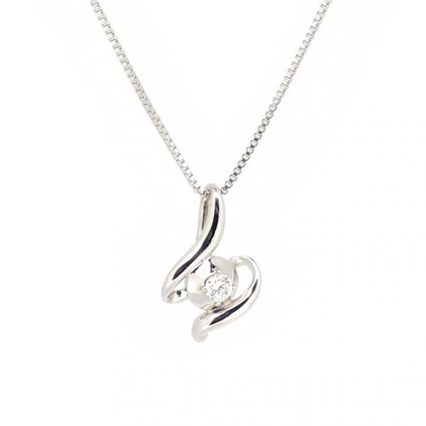 透かし ゴールドネックレス(チェーン付きペンダント) 曲線 抽象 粒 ストーン 18金 ホワイトゴールド ダイヤモンド ダイアモンド ジュエリー ネックレス ペンダント 首飾り レディース 女性 アクセサリー ギフト プレゼント おしゃれ
