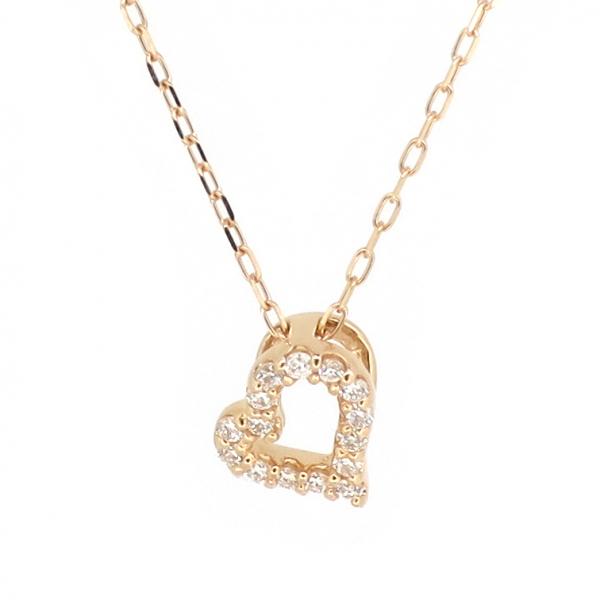 オープンハート ゴールドネックレス(チェーン付きペンダント) 透かし パヴェ 10金 ピンクゴールド ダイヤモンド ダイアモンド ジュエリー ネックレス ペンダント 首飾り レディース 女性 アクセサリー ギフト プレゼント おしゃれ