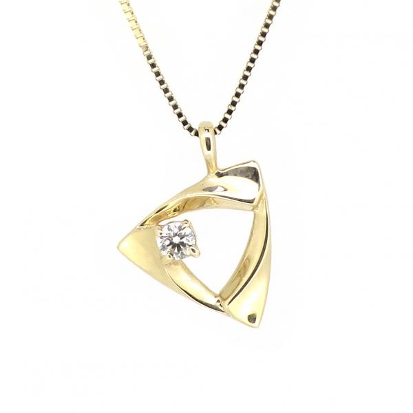 トライアングル ゴールドネックレス(チェーン付きペンダント) 三角形 幾何学模様 ジオメトリー シンプル モード 10金 イエローゴールド ダイヤモンド ダイアモンド ジュエリー ネックレス ペンダント 首飾り レディース 女性 アクセサリー ギフト プレゼント おしゃれ