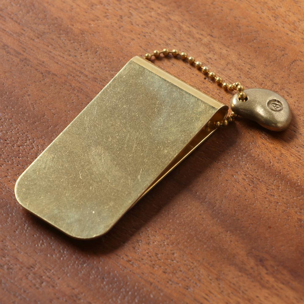 経年変化する真鍮を育てる楽しみ No.3 早割クーポン マネークリップ KMC-003-B 真鍮 ミニ財布 上白石金具製造 敬老の日ギフト 激安特価品 ぎんやんま 京都 金色