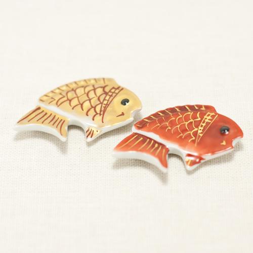 清水焼 京焼 おめでたい 鯛の箸置きです 鯛縁起 ショッピング 〔玉鳳窯〕 店 箸置き 金 赤セット