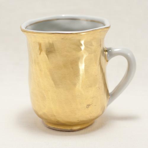 金彩 手捻りマグカップ(持ち手白)〔幸之介窯〕