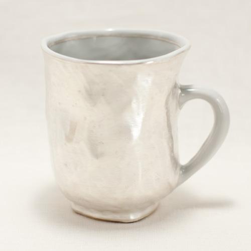 銀彩 手捻りマグカップ(持ち手白)〔幸之介窯〕
