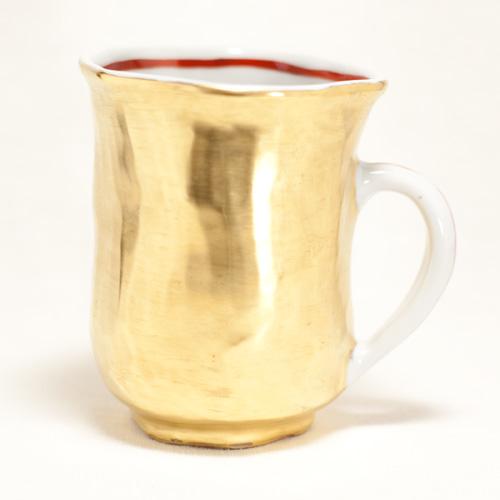 金彩 手捻りマグカップ(持ち手色付)〔幸之介窯〕