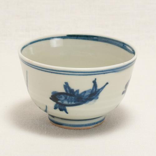 染付魚藻紋 煎茶碗〔清風与平〕