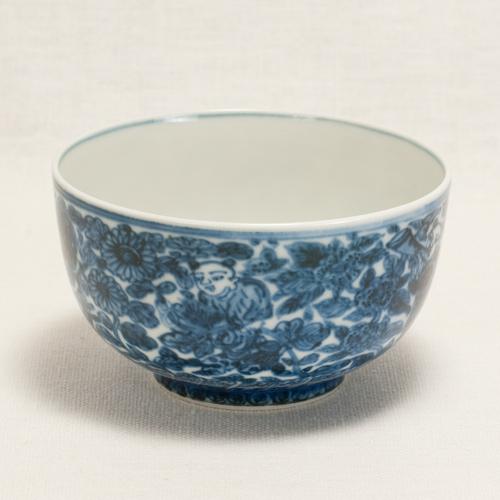 染付唐子遊戯に花卉絵 煎茶碗〔清風与平〕