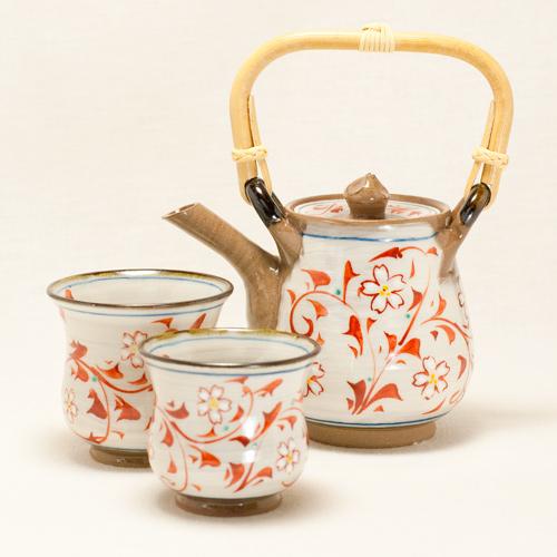 夜桜 茶器セット(赤)〔久芳窯〕