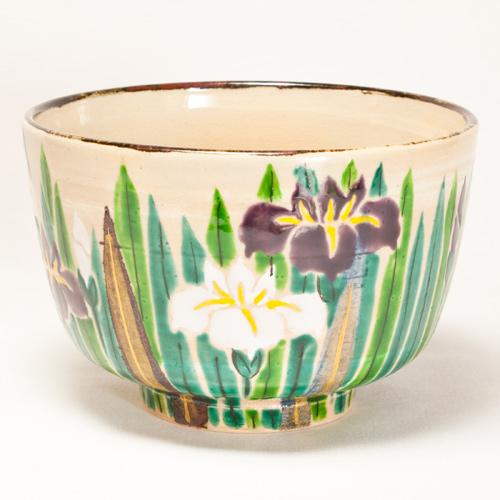 乾山写し 菖蒲 茶碗〔花光山窯〕