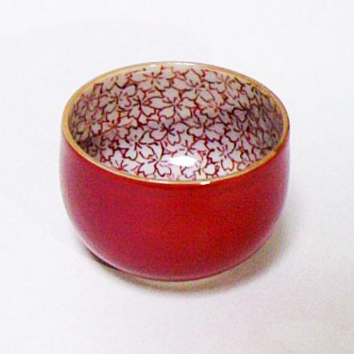 赤絵桜 だるま形 ぐい呑み〔助田正山〕