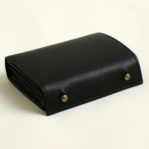 m+ millefoglie II P25 black × black(エムピウ 二つ折り財布 ミッレフォッリエ2 P25 ブラック×ブラック)