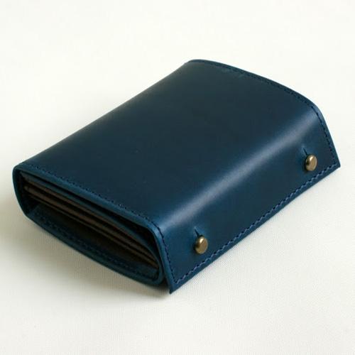 m+ millefoglie II P25 blue × choco (エムピウ 二つ折り財布 ミッレフォッリエ2 P25 ブルー×チョコ)