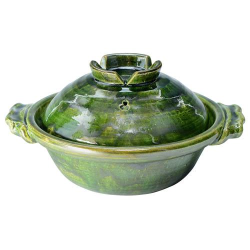 京焼・清水焼 陶あん窯 土鍋 (京鍋) 八号 緑釉