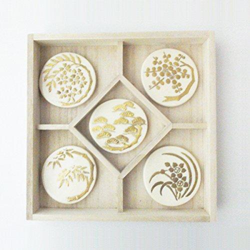 京焼・清水焼 陶泉窯 金彩 松竹梅に桜と鉄線 縁起 箸置き 5個木箱入り