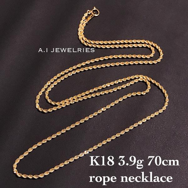 K18 18金 70cm long ロング 長め ロープ ネックレスチェーン rope necklace chain mens ladies 男女兼用 サイズ simple シンプル