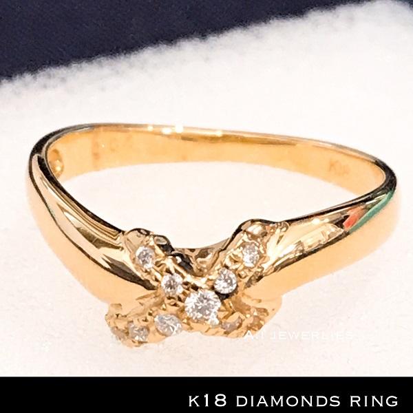 リング 18金 天然 ダイアモンド ring k18 diamonds