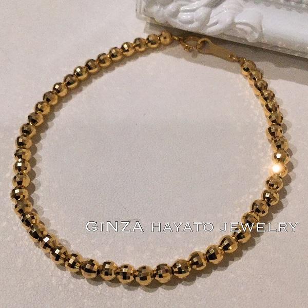 ミラー カットボール メンズ ブレスレット 18金 mirror cut ball bracelet simple gorgeous シンプル ゴージャス fashionable お洒落 20cm k18
