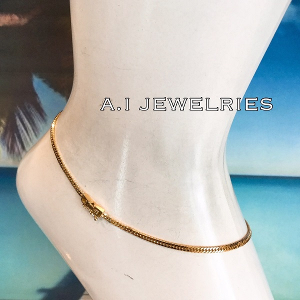 喜平 アンクレット 18金 6面ダブル 26cm kihei 6cut double simple anklet k18 mens size