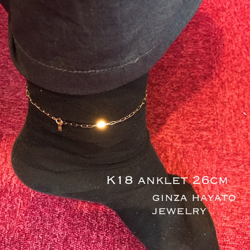 アンクレット 18金 メンズ レディース 男女兼用 anklet 26cm simple chain design シンプル チェーン デザイン