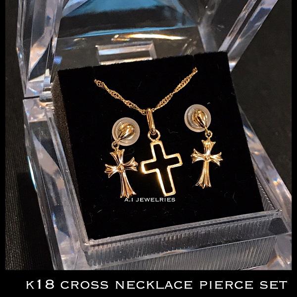 k18 18金 クロス ネックレス ピアス / k18 cross necklace pierce set jewelry